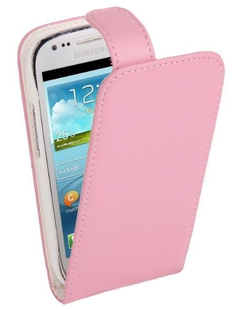 Wieder neu im Shop Vertical Leder Flip Case für Samsung Galaxy S3 mini  / i8190 Pink