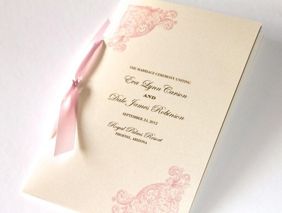 Vintage Wedding Program - Elegant Wedding Program - Ceremony ...