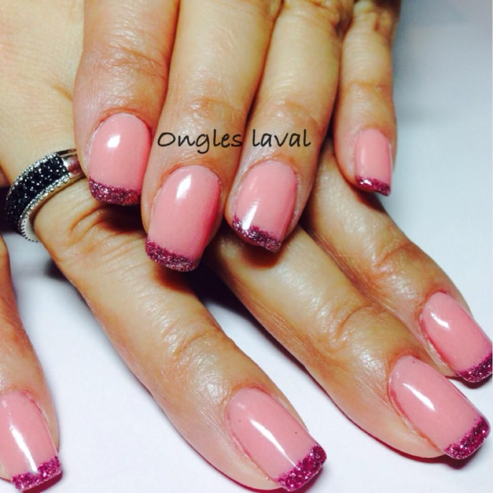 http://www.facebook.com/onglelaval Glitter french manicure , pink ...