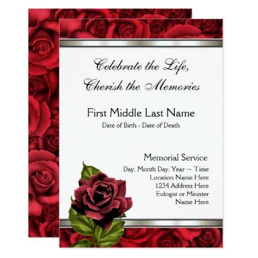 Red Rose Mourning Card Funeral Announcement Funeral - funeral announcement sample