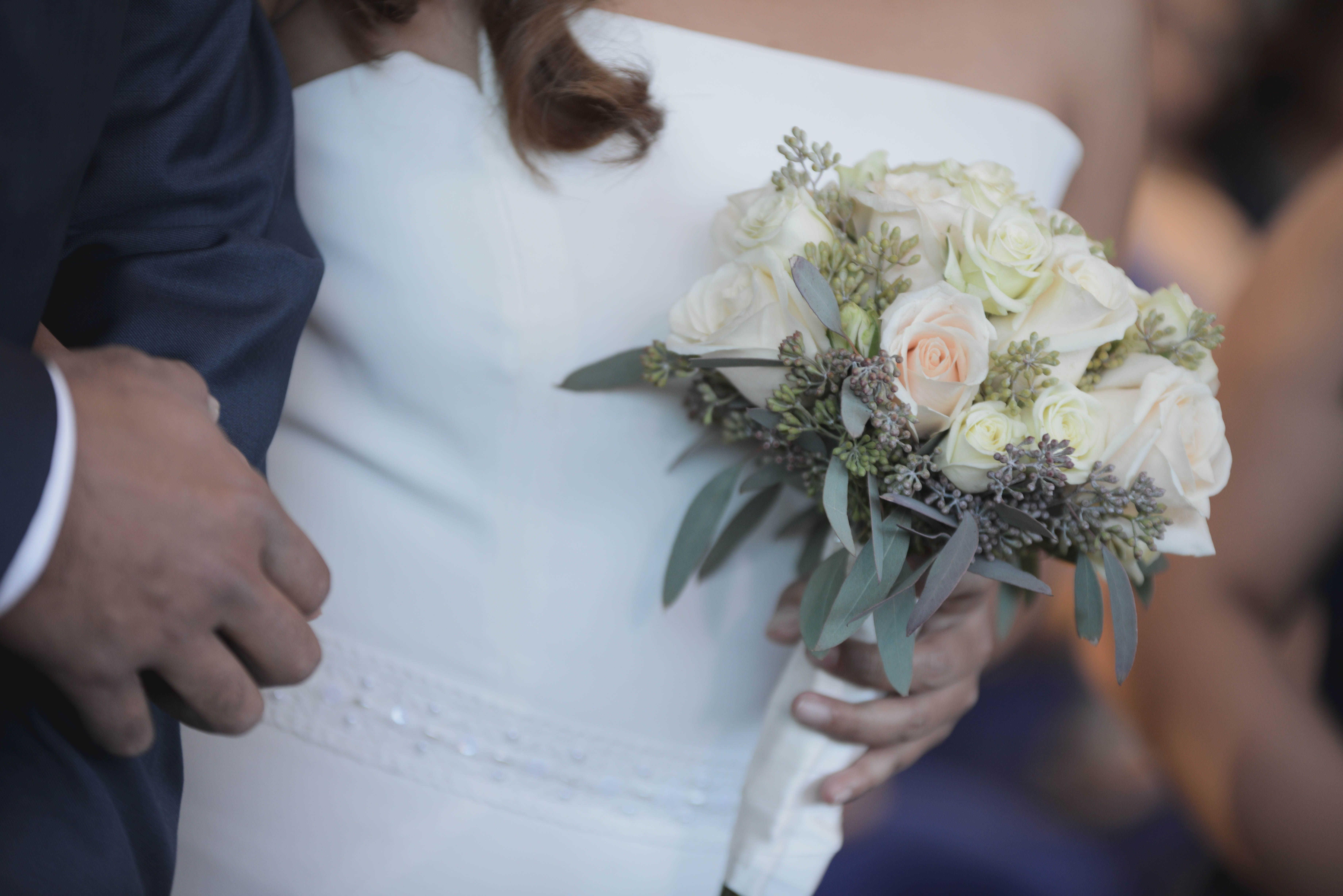 Simple And Elegant White Rose With Eucalyptus Bridal Bouquet Perfect Spring Wedding Flowers For Your