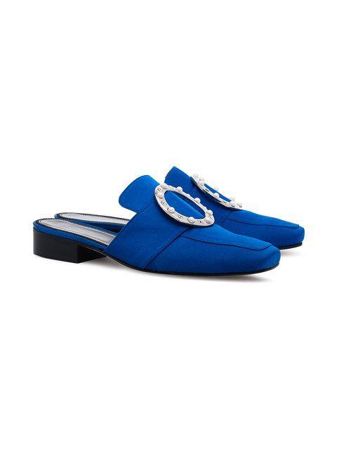Pet crystal embellished flat loafers - Blue DORATEYMUR eS7ZXNf06Q