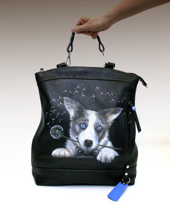 Personalized Leather backpack purse Custom Pet Portrait black ...