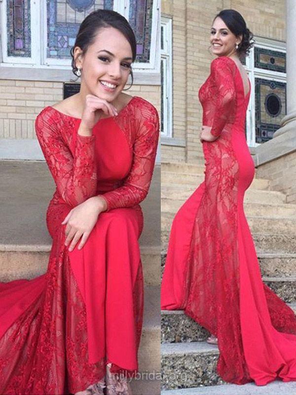 Unique Red Prom Dresses, Scoop Neck Lace Formal Dresses, Silk-like Satin Trumpet/Mermaid Evening Dresses, Long Sleeve Prom Dresses