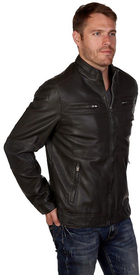 X RAY Mens Moto Faux Leather Jacket
