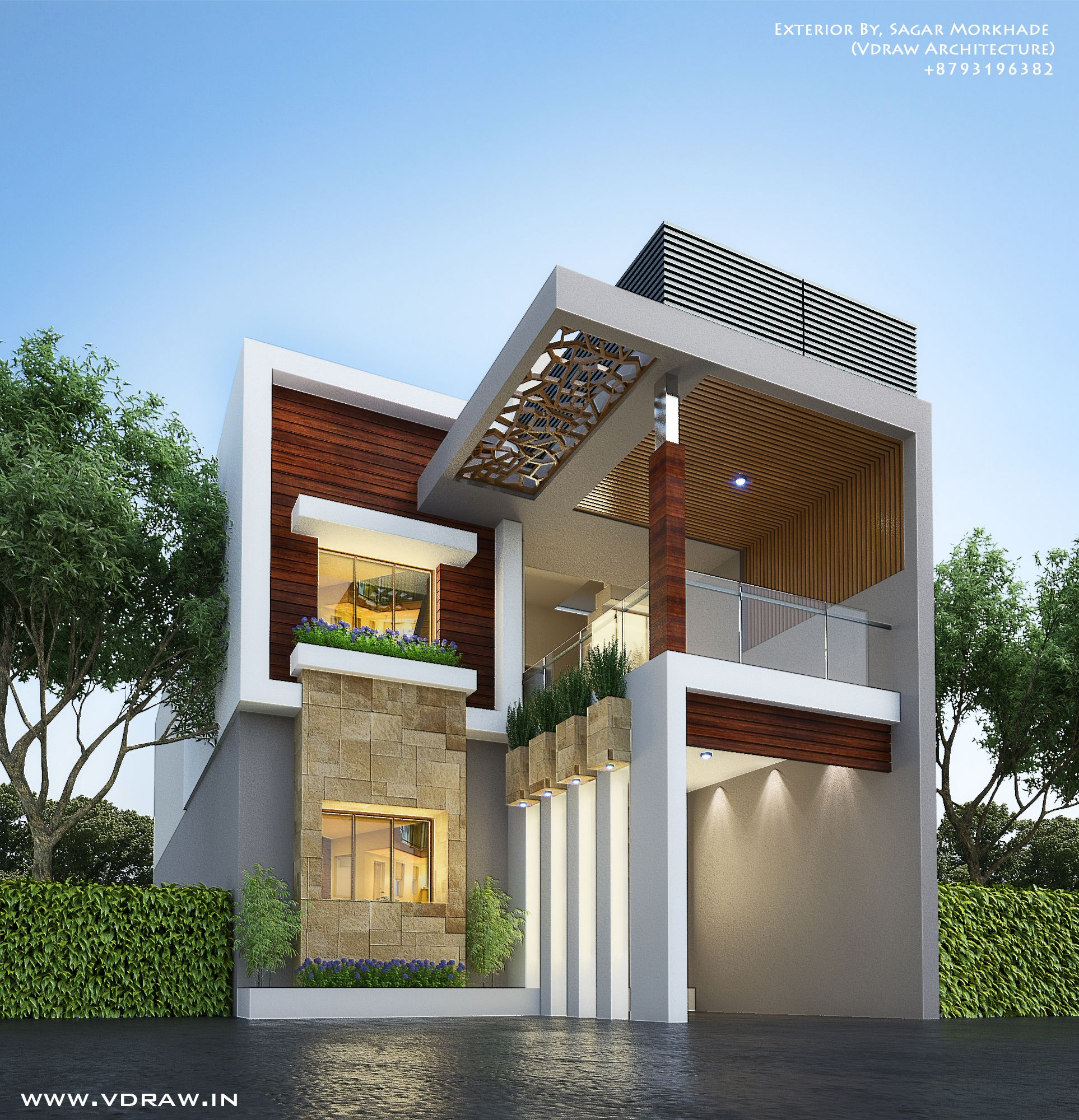 Modern Residential House Bungalow Exterior By Sagar: Exterior By, Ar.Sagar Morkhade (Vdraw Architecture