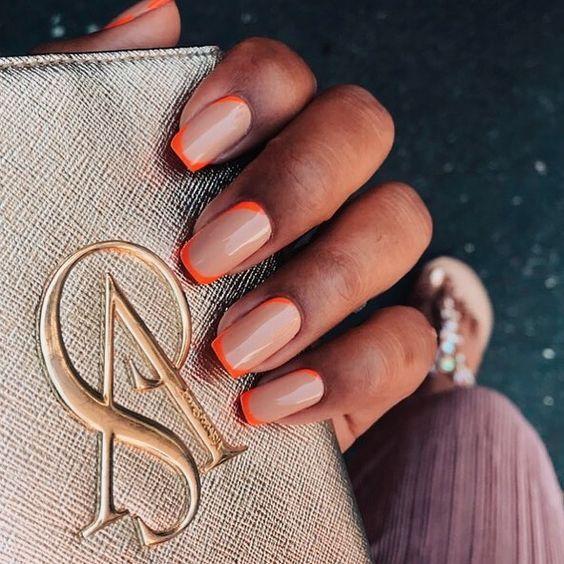 Korean DIY Nail Designs Autumn Orange Nude Candy Coffin Nails