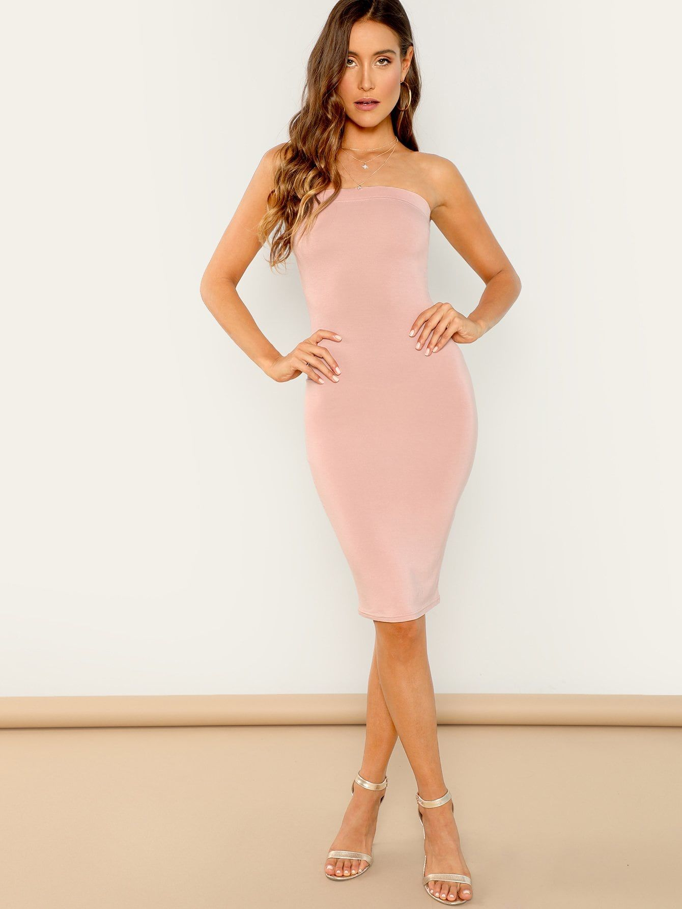 b3e0d4de1c966 Glamorous and Sexy Pencil and Tube Plain Bodycon Strapless Sleeveless  Natural Pink Midi Length Midi Bandeau Bodycon Dress