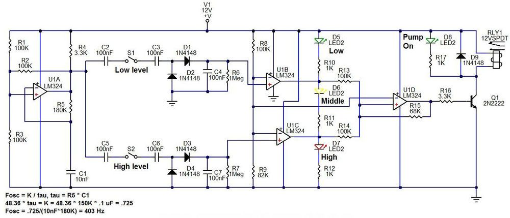 sump or fill pump controller circuit diagram, design schematic for, Schematic