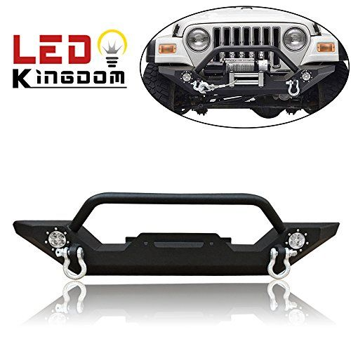 Ledkingdomus Tj Yj Jeep Wrangler Front Bumper With Winch Plate And Led Lights Jeep Front Bumpers Jeep Wrangler Jeep