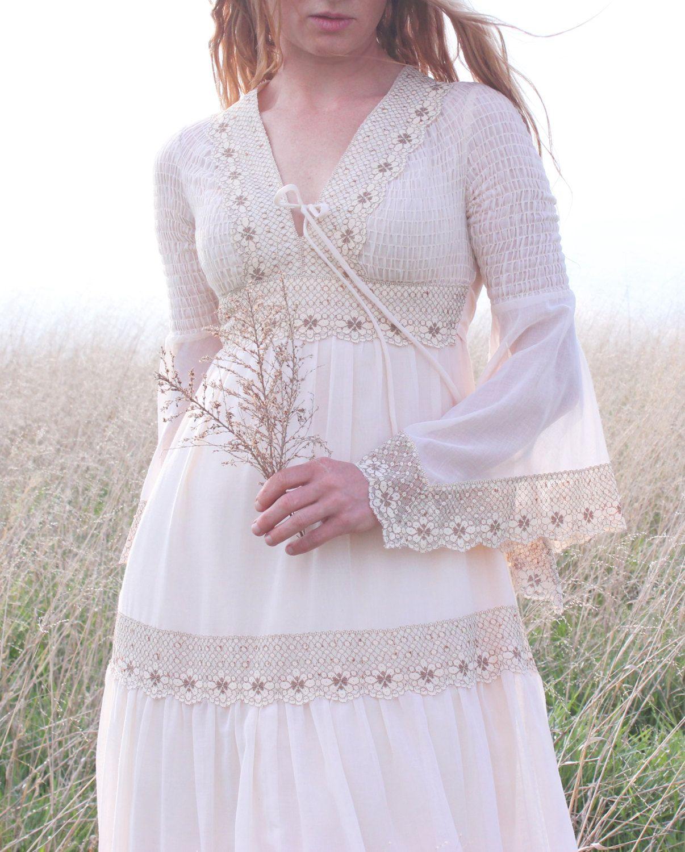 Vintage 1970s Hippie Wedding Dress in Cream. I loved Gunne