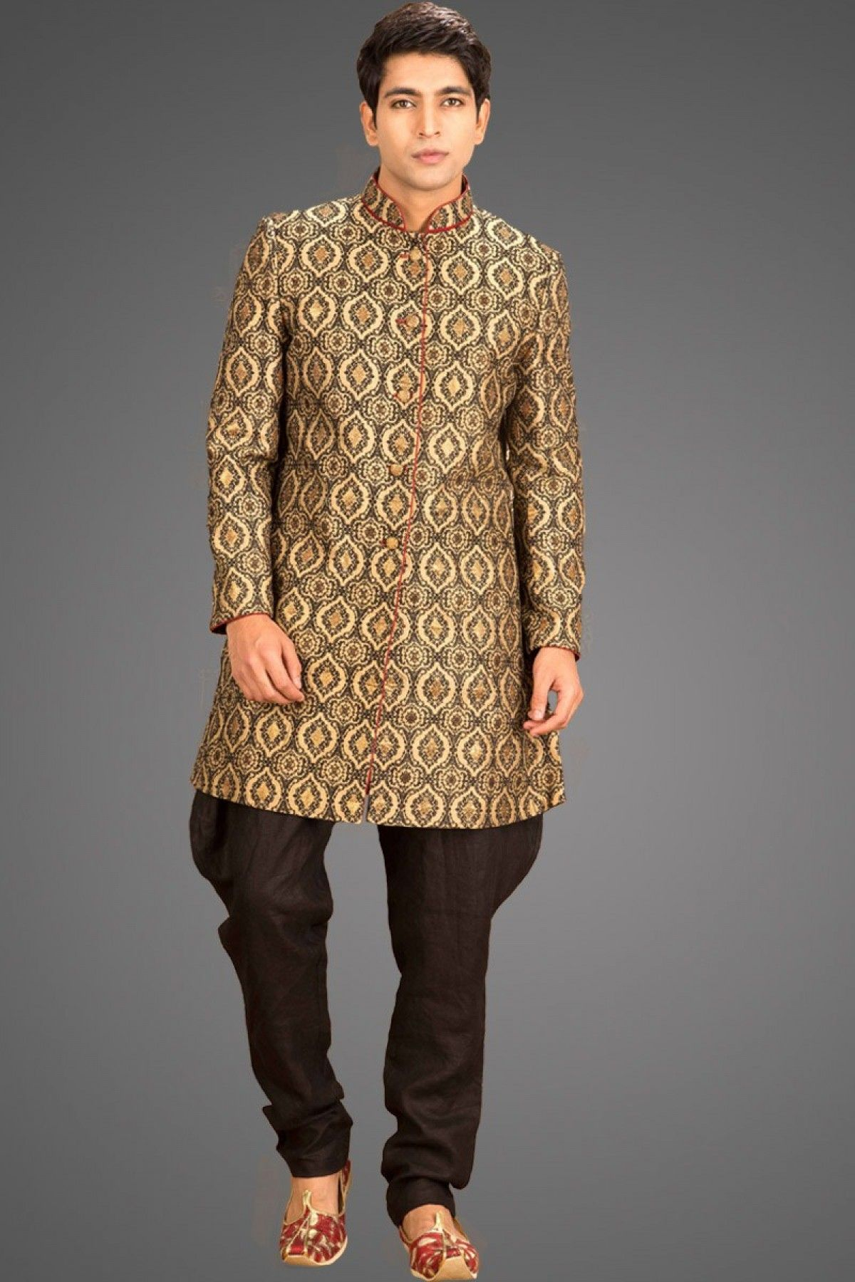 Brown u beige brocade weaved straight cut sherwani sh menus
