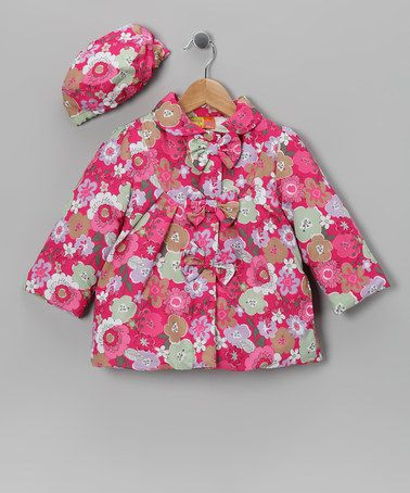 Take a look at this Pink Floral Bow Coat & Hat - Infant, Toddler & Girls by Penelope Mack on #zulily today!