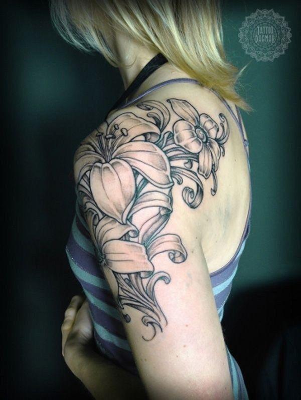 35 Pretty Lily Flower Tattoo Designs For Creative Juice Quarter Sleeve Tattoos Lily Tattoo Design Feminine Tattoos