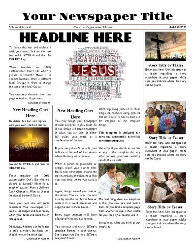 This Front Page Newspaper Is Perfect To Use For Any Religious
