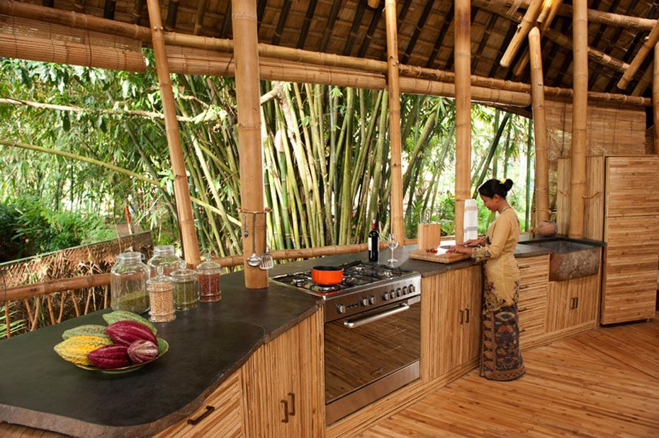 hotels resorts beautiful bamboo houses in green village bali by ibuku ayung house stone and bamboo kitchen - Bamboo Kitchen Design