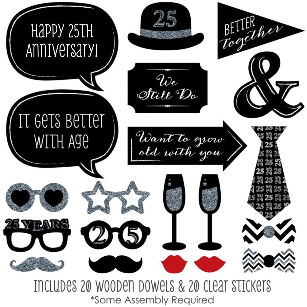 25th Anniversary Photo Booth Props Kit 20