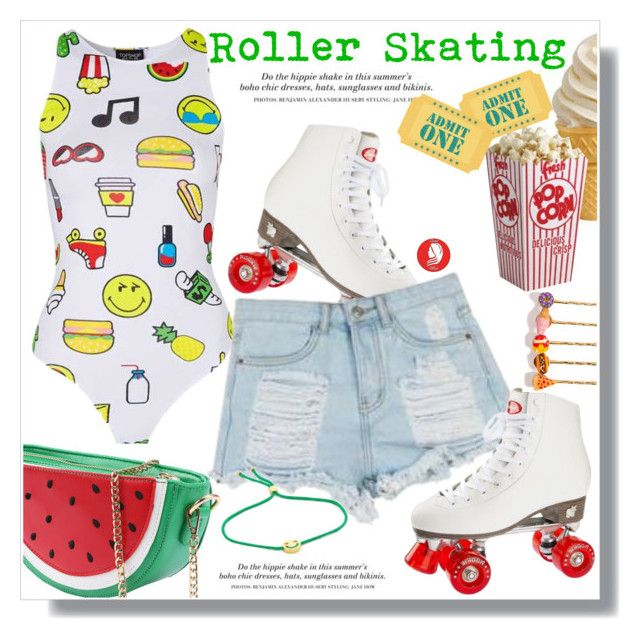 """""""Roller Skating"""" by queenvirgo ❤ liked on Polyvore featuring Topshop, H&M, Venessa Arizaga and Ruifier"""