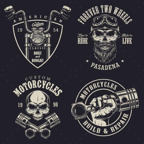Set Of Custom Motorcycle Emblems Motorcycles Logo Design Motorcycle Logo Motorcycle Design