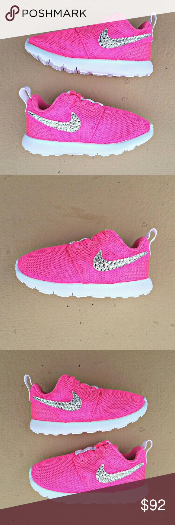 SWAROVSKI Bling Girls' Preschool Kids Nike Roshe Kids' Preschool Nike Roshe  Embellished with genuine Swarovski XIRIUS Rose 2088 Crystals  Swarovski's newest and most revolutionary crystals, the XIRIUS collection takes one step closer to the diamond. With extraordinary brilliance & shine, these crystals go unmatched by generic rhinestones  Crystals are applied by hand with industrial-strength adhesive. Embellishment is permanent, but extra crystals are provided just in case  Find more colors…
