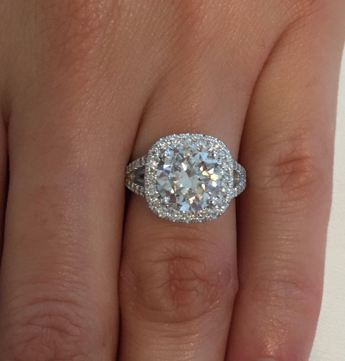 Vs 4 1 2 Ct Natural Cushion Halo Round Diamond Engagement Ring 14k White Gold Ebay Halo Diamond Engagement Ring Diamond Engagement Rings Engagement Rings