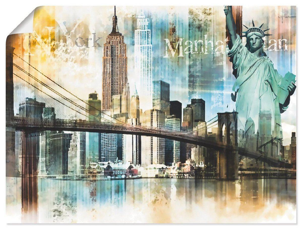 LEINWAND BILD ABSTRAKT NEW YORK CITY DEKO WANDBILDER KUNSTDRUCK STADT AMERIKA