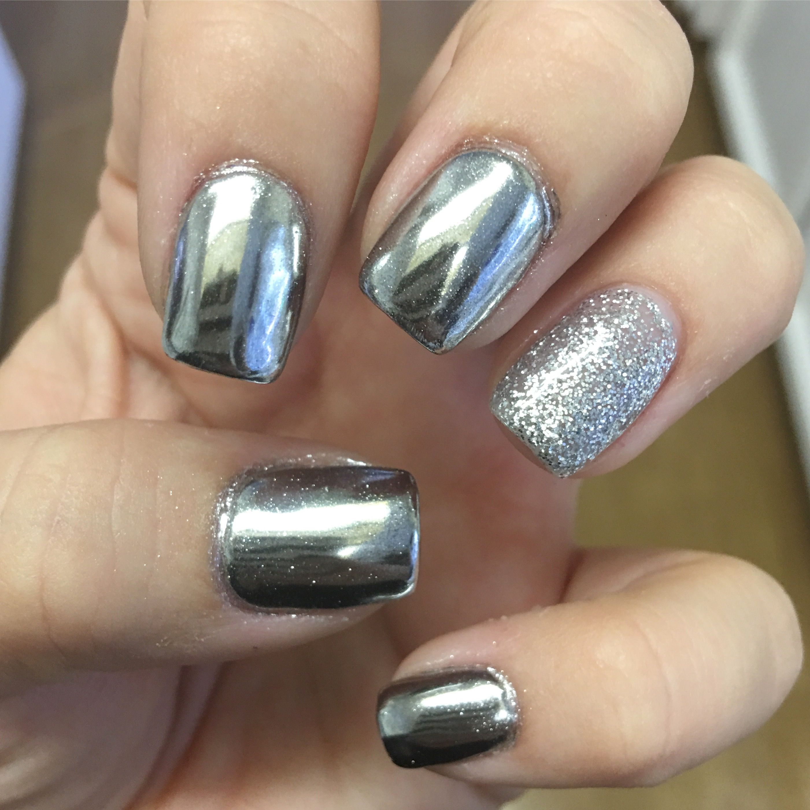 Silver chrome nails with silver glitter accent nail. | nails nails ...