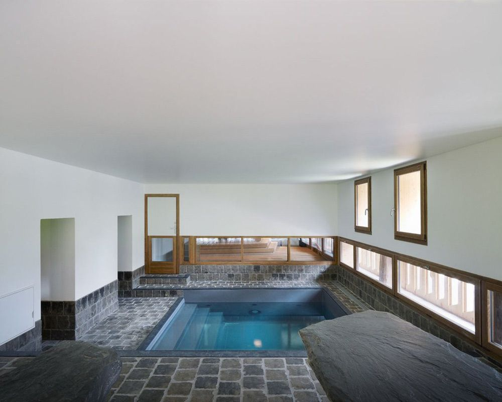 Great Stone Tiles, Jacuzzi, Villa Solaire, Morzine, France By JKA + FUGA Photo