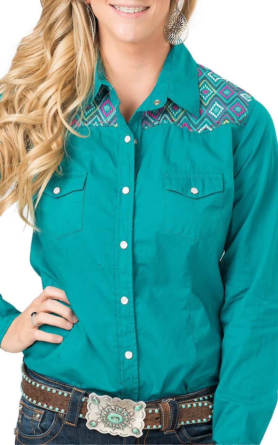 6b0220f557ba25 Panhandle Women's Turquoise with Aztec Embroidery Long Sleeve Western Shirt  | Cavender's