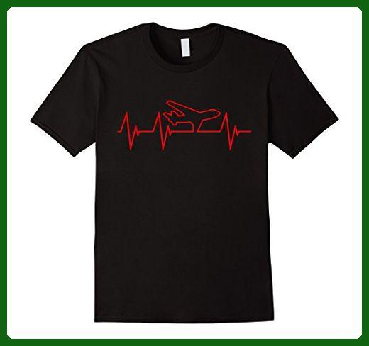 Mens Plane Heartbeat - Funny Aviator Pilot T Shirt Gift Medium Black - Funny shirts (*Amazon Partner-Link)