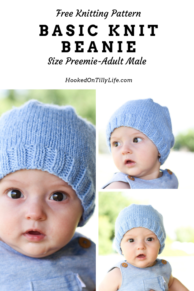 Basic Knit Baby Beanie Free Knitting Pattern Hooked On Tilly In 2021 Knitted Baby Beanies Baby Hats Knitting Free Baby Hat Knitting Patterns Free