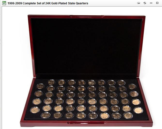 Gold Plated 56 US State Quarter Collection in Glossy Flat Display - weinregal f r k che