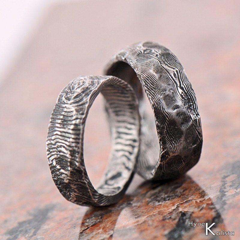 Custom Wedding Ring Stainless Damascus steel Mens ring womens