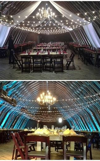 The Barn at Perona Farms. String Lighting and Draping by Omnivent Event Services (www.omnigreatweddings.com)