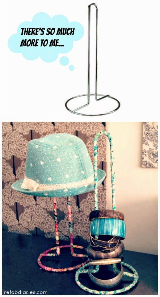 From paper towel holder to hat stand! #repurpose #upcycle