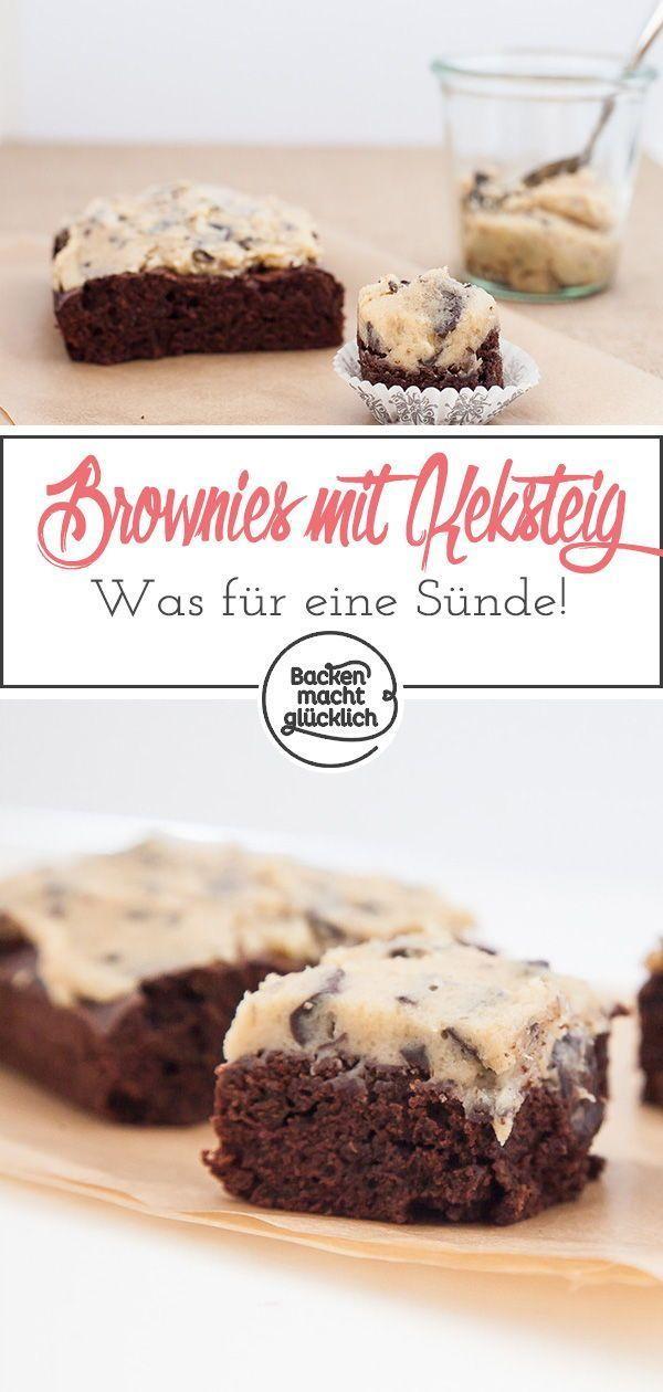 Geniales Rezept fr saftige Brownies mit einem Topping aus rohem Keksteig. Diese Cookie Dough Browni
