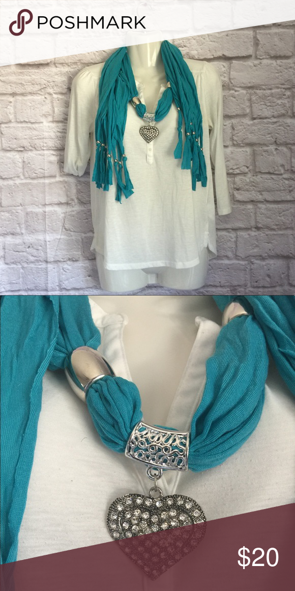 Turquoise Scarf Necklace Heart