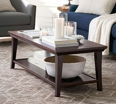 Metropolitan Rectangular Coffee Table Living Room Ideas - Pottery barn coffee table decor