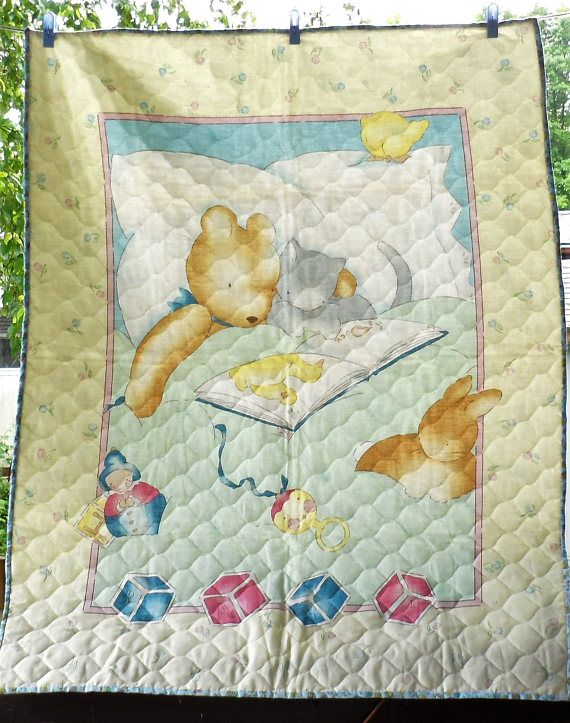 Vintage Baby Unisex Panel Quilt/Pre-quilted Fabric Panel Small ... : nursery quilt fabric - Adamdwight.com