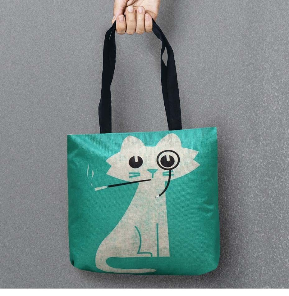 2ddefffe0 Mr Cat Cartoon Bags Printed Shopping Bag Tote Convenience Women Shoulder  Handbags Linen Bag For Food