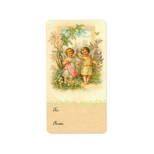 vintage spring cherub birthday gift labels in 2018 floral birthday