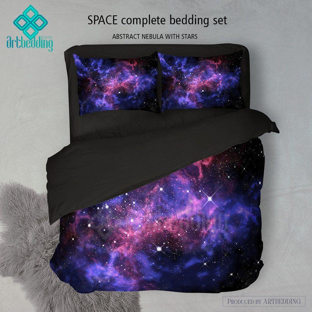 galaxy bedding set space duvet cover set stars nebula bedding set cosmos bedroom decor - Galaxy Bedding Set
