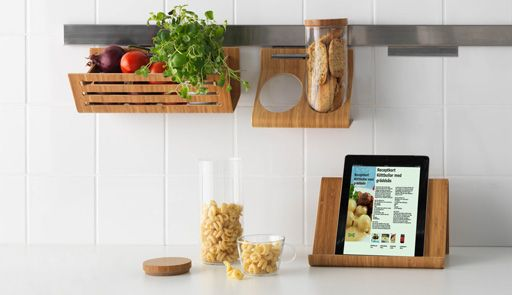 RIMFORSA kitchen accessories, including a basket and a wall rail