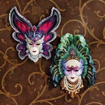 Maidens de Mardi Gras sculptures murales de masque: Papillon Maiden & Peacock princesse