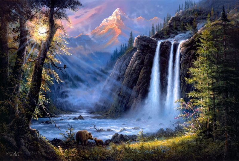 most beautiful waterfalls painting in oils photography