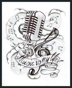 Logos For New School Microphone Tattoo Designs Tattoos De Notas Musicais Tatuagens De Musica Tatuagem Musica