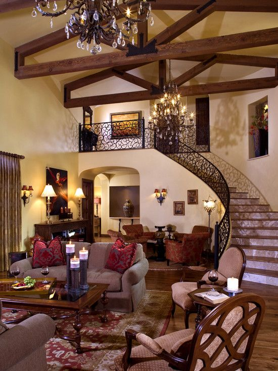Really Digging The Iron Staircase Mediterranean Living Room Tuscan Living Rooms Mediterranean Living Rooms