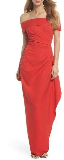 5bf0fe89111 Vince Camuto Off the Shoulder Crepe Gown
