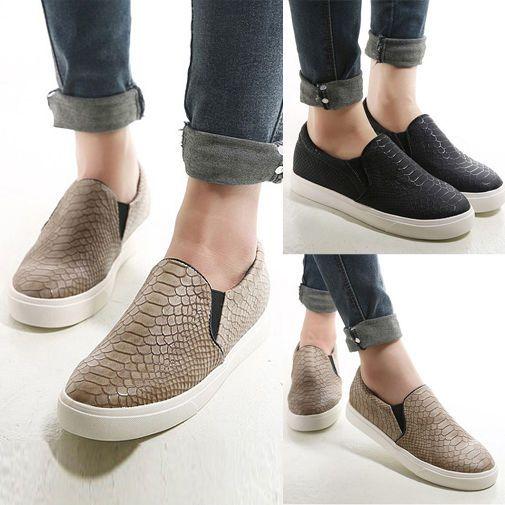 Fashion Womens Flats Snakeskin Loafers
