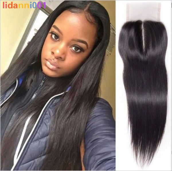 Peruvian Virgin Straight Lace Closure 4x4 Remy Human Hair With